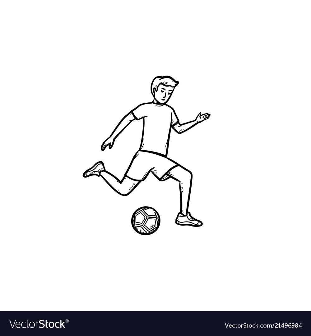 Soccer player with ball hand drawn outline doodle