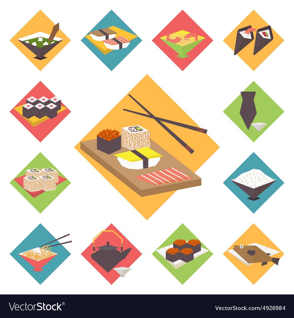 Sushi Japanese cuisine food icons set flat