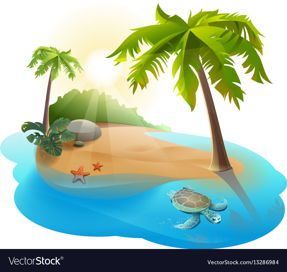 Palm Tree Island: Tropical Island With Palm Tree And Turtle Vector Image