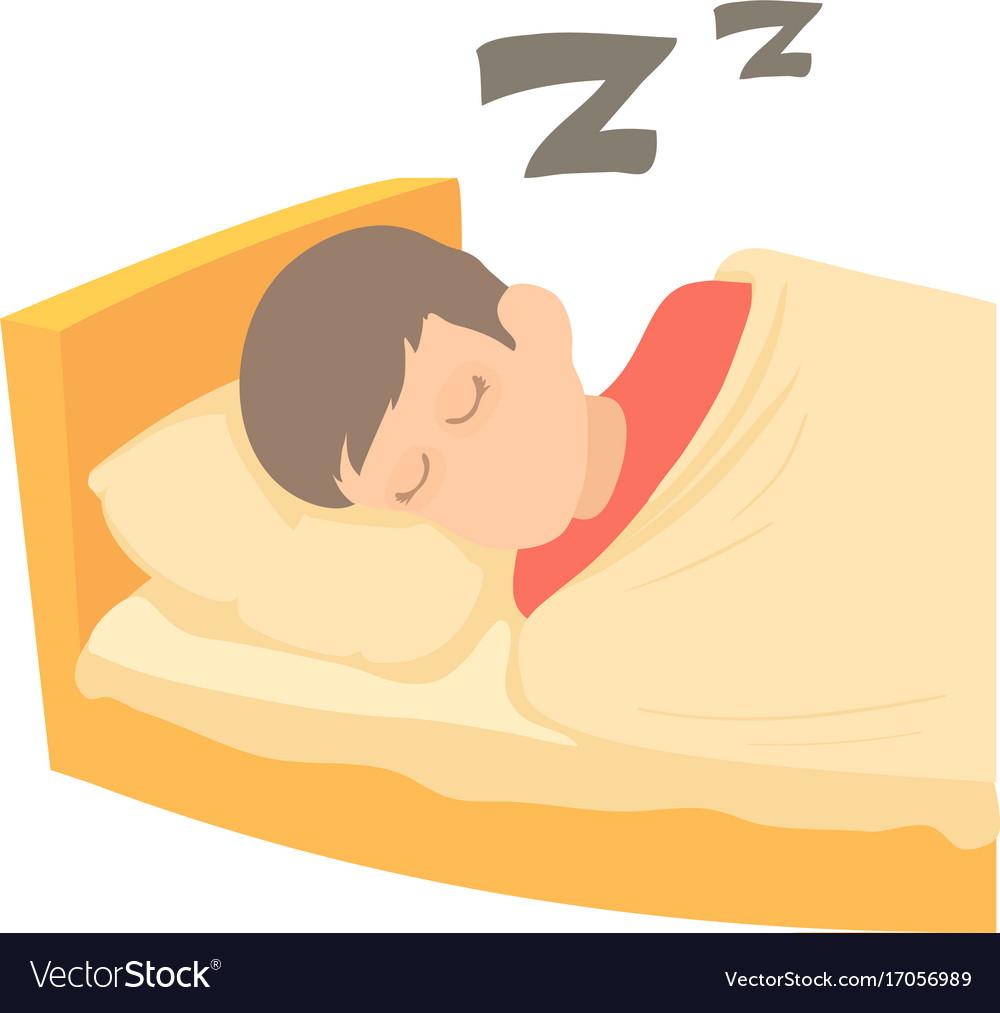 Boy sleeping icon cartoon style