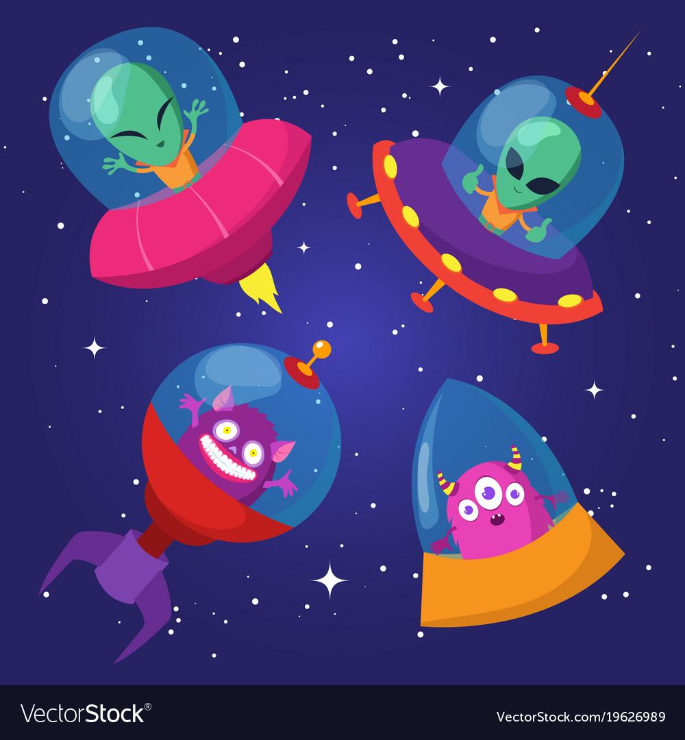 Cartoon funny aliens with ufo in duck starry sky