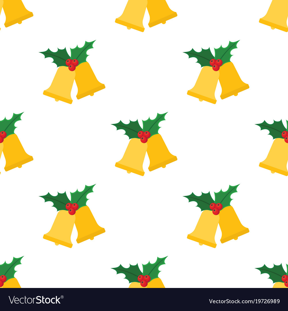 Christmas bells with holly leaves