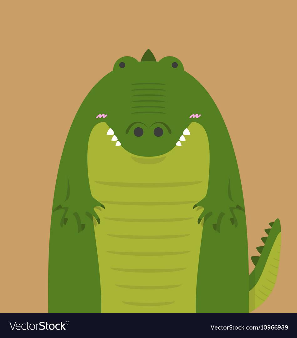 Cute big fat crocodile vector image