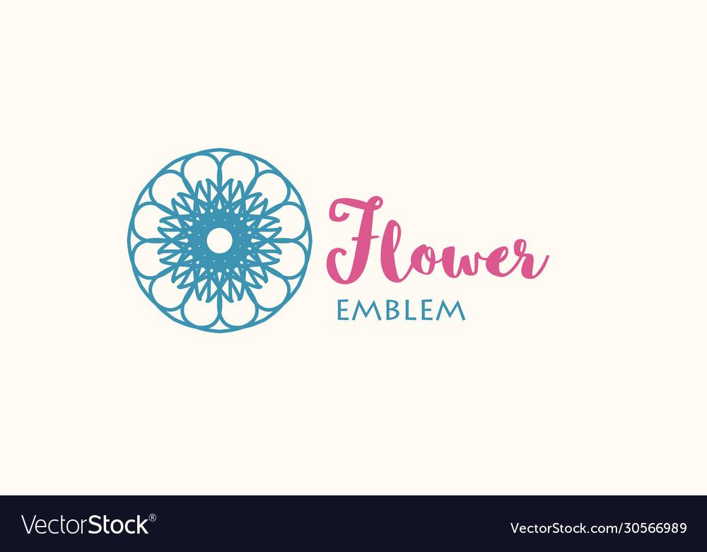 Flower store linear emblem