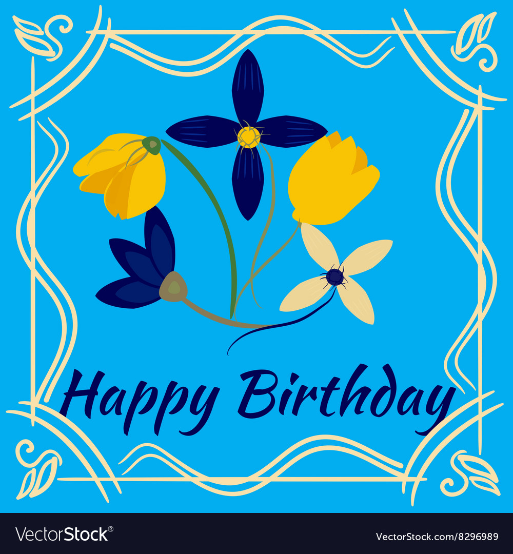 Happy birthday card with flower frame royalty free vector happy birthday card with flower frame vector image izmirmasajfo