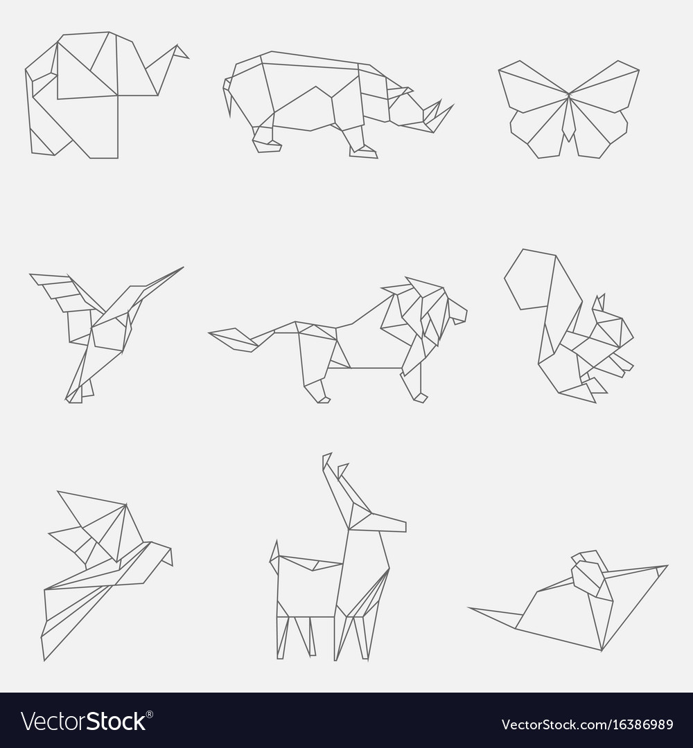 Line Origami Animals Royalty Free Vector Image - Origamis-animales