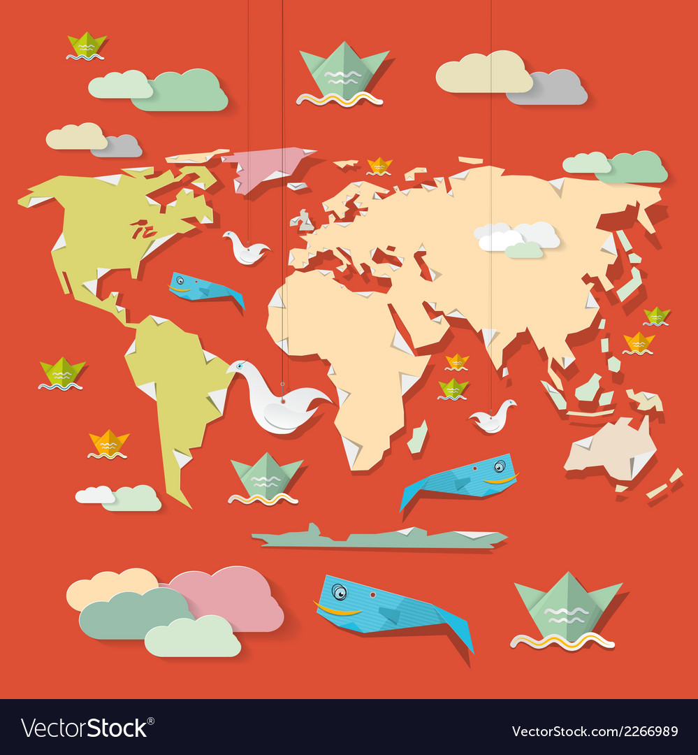Retro paper world map on red background royalty free vector retro paper world map on red background vector image gumiabroncs Gallery