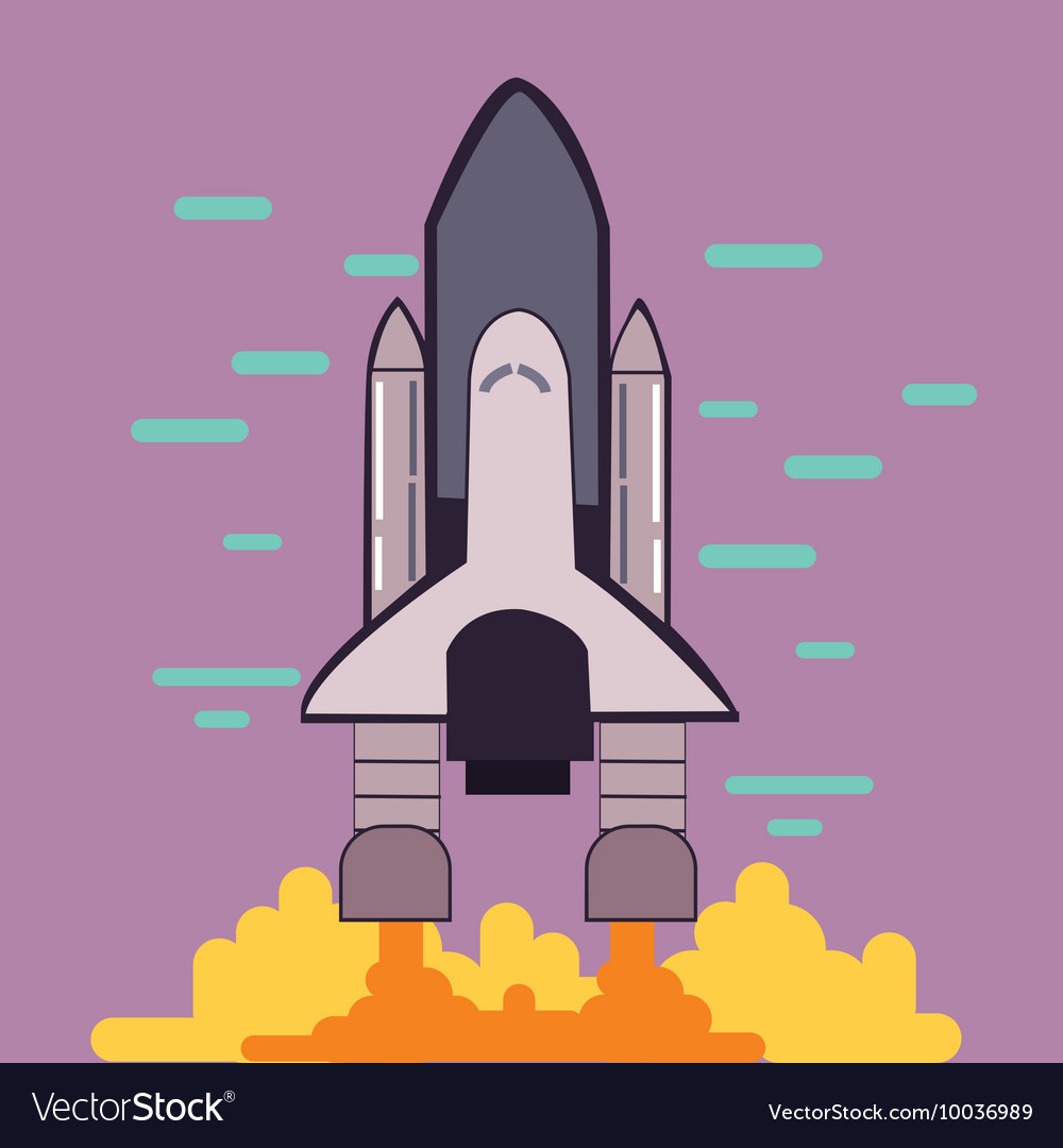 Rocket launch space shuttle take off flat line vector image