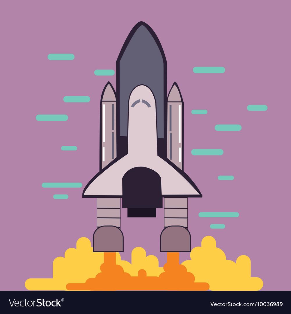 Rocket launch space shuttle take off flat line