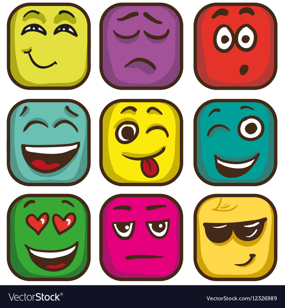 Set of colorful emoticons square emoji flat