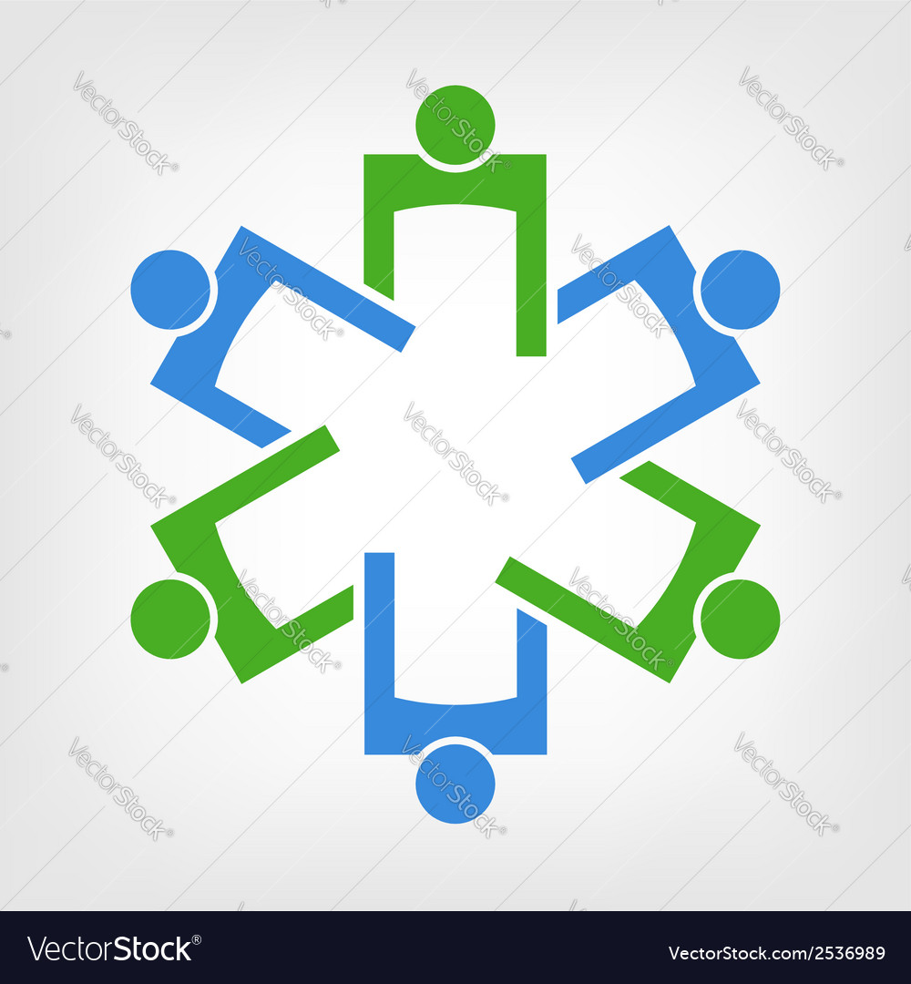 Team of persons forming the medical symbol vector image