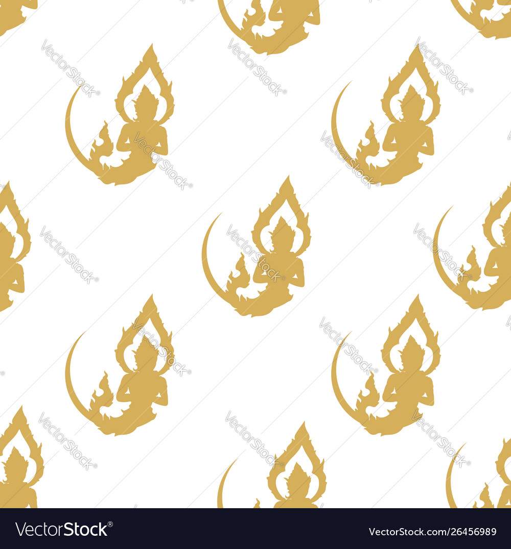 Thai art yellow seamless pattern