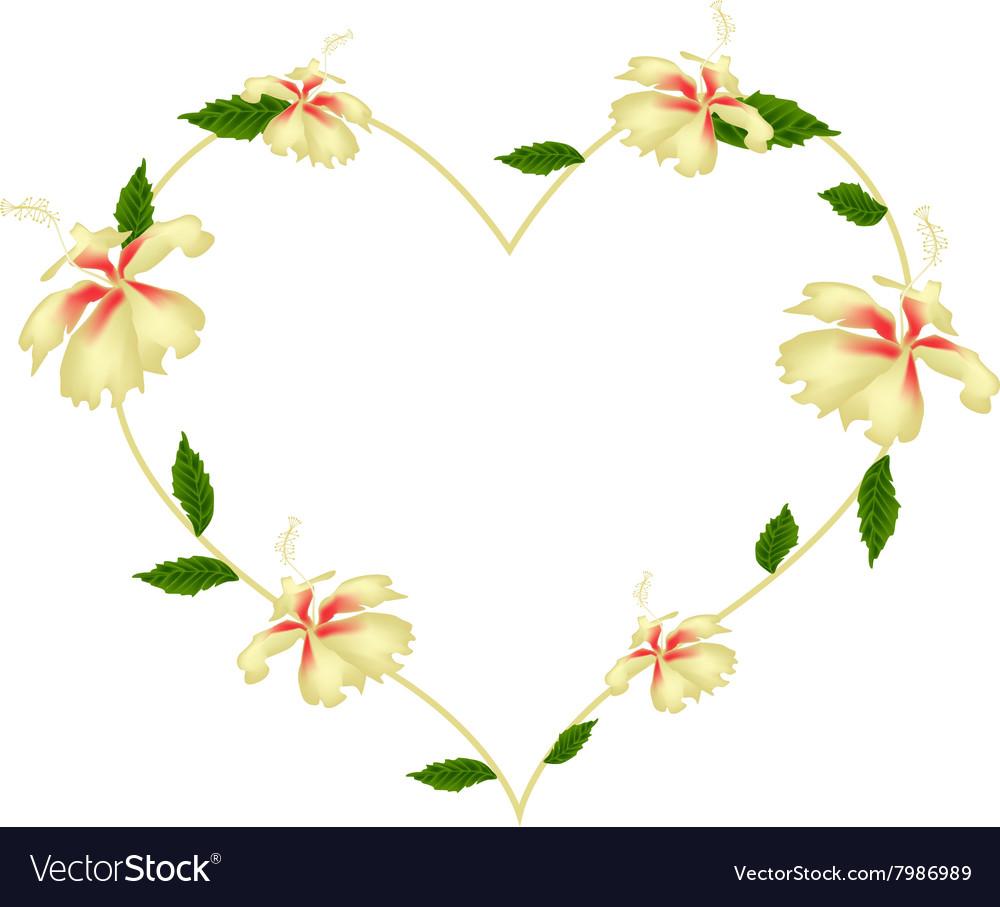 Yellow hibiscus flowers in a heart shape vector image izmirmasajfo