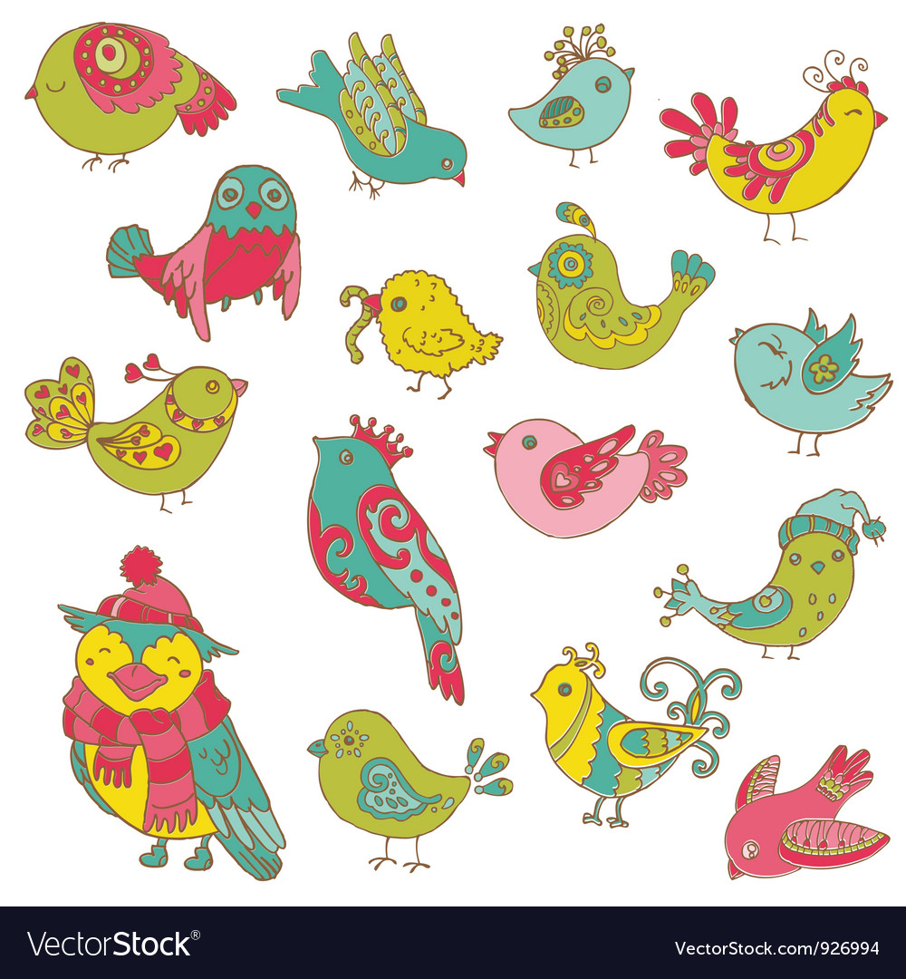 Colorful Birds Doodle Collection