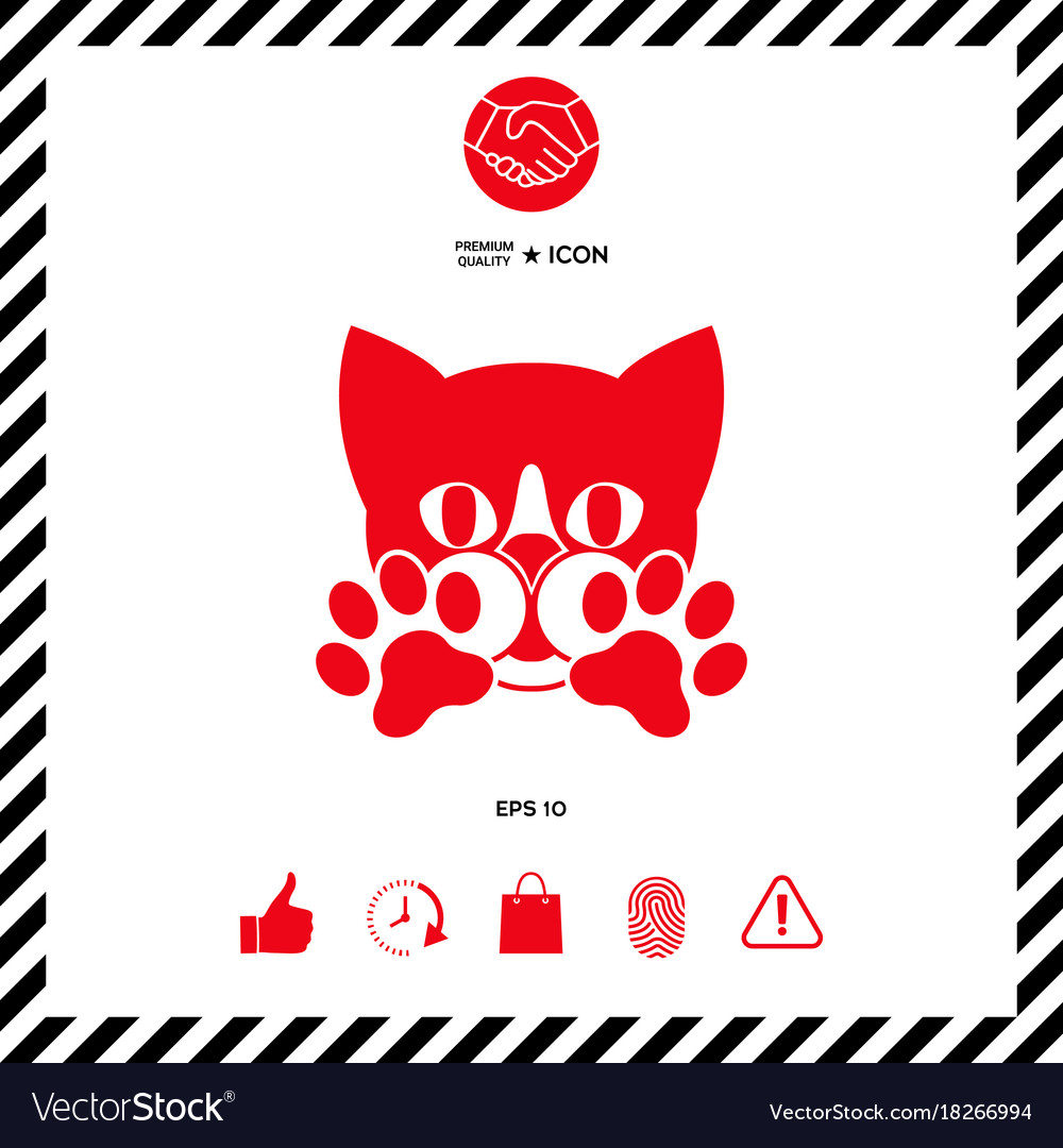 Cute Cat Paws Logo Symbol Protect Sign Vector Image