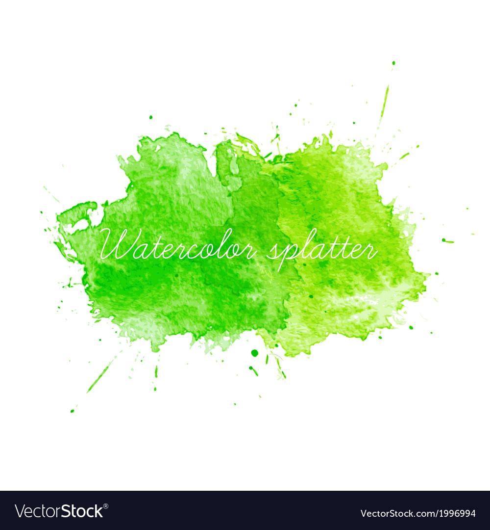 Green Watercolor splatters vector image