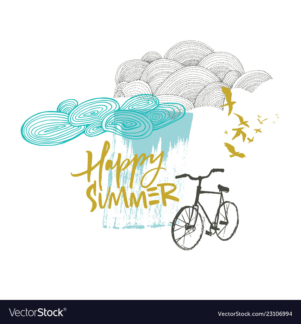 Happy summer card with clouds and bicycle