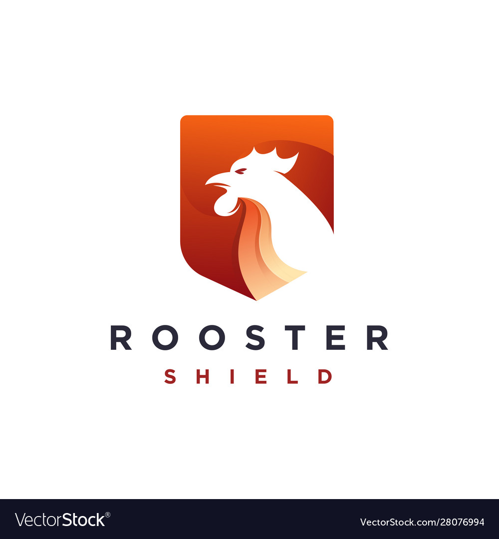Modern geometric rooster and shield logo icon