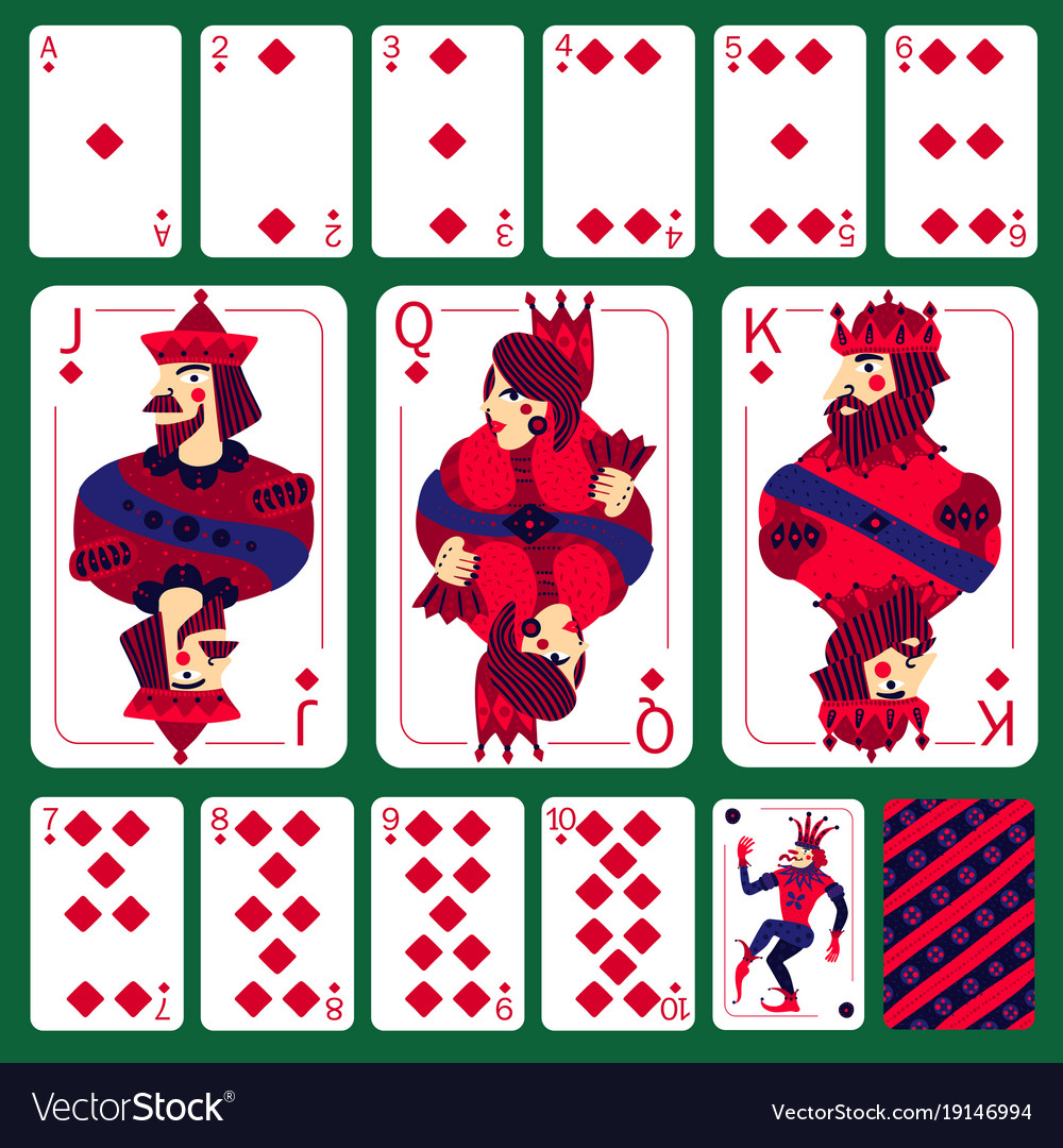 Poker playing cards diamond suit set vector image