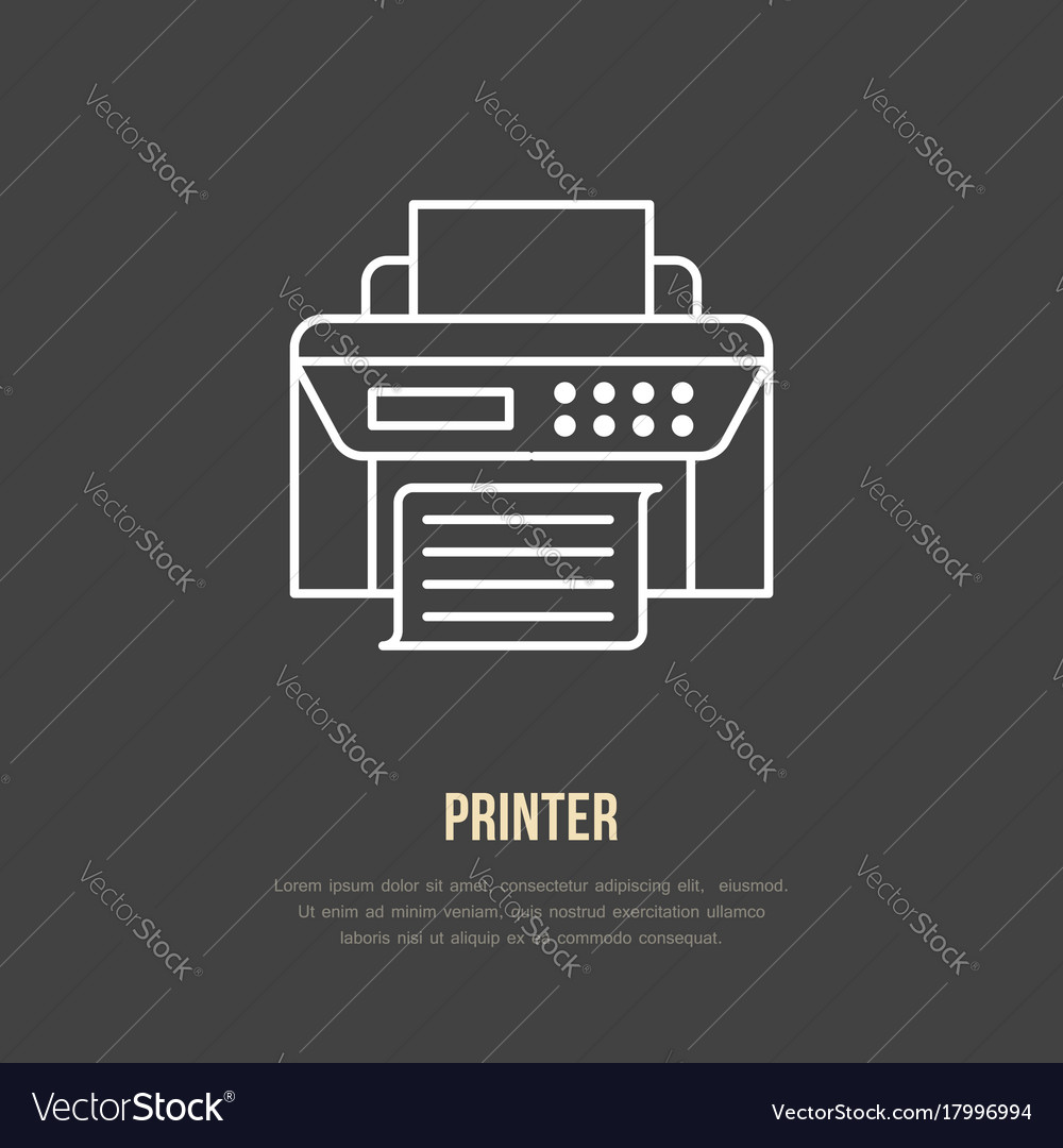 Printer with paper page flat line icon wireless