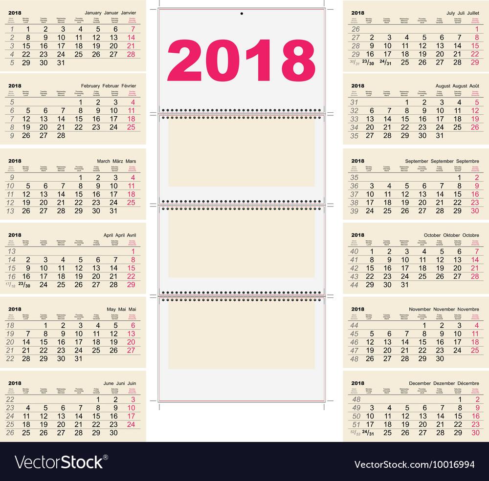Template grid Wall Calendar 2018 First Day Monday