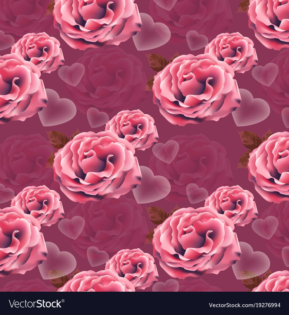 Valentines day card roses heart pattern