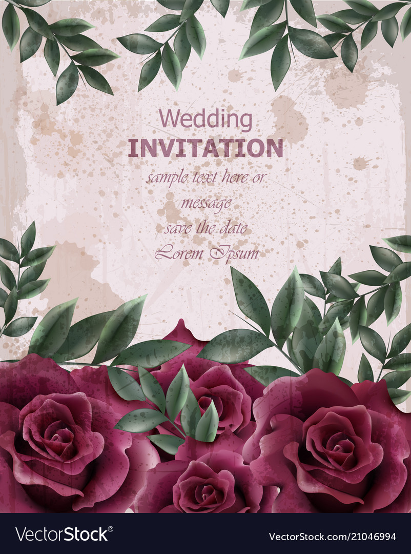 Wedding invitation with roses beautiful