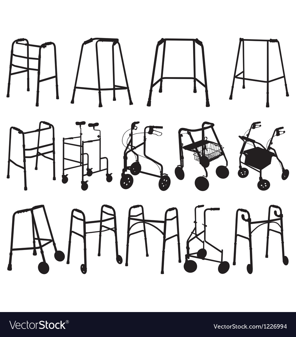Zimmer frame silhouettes vector image