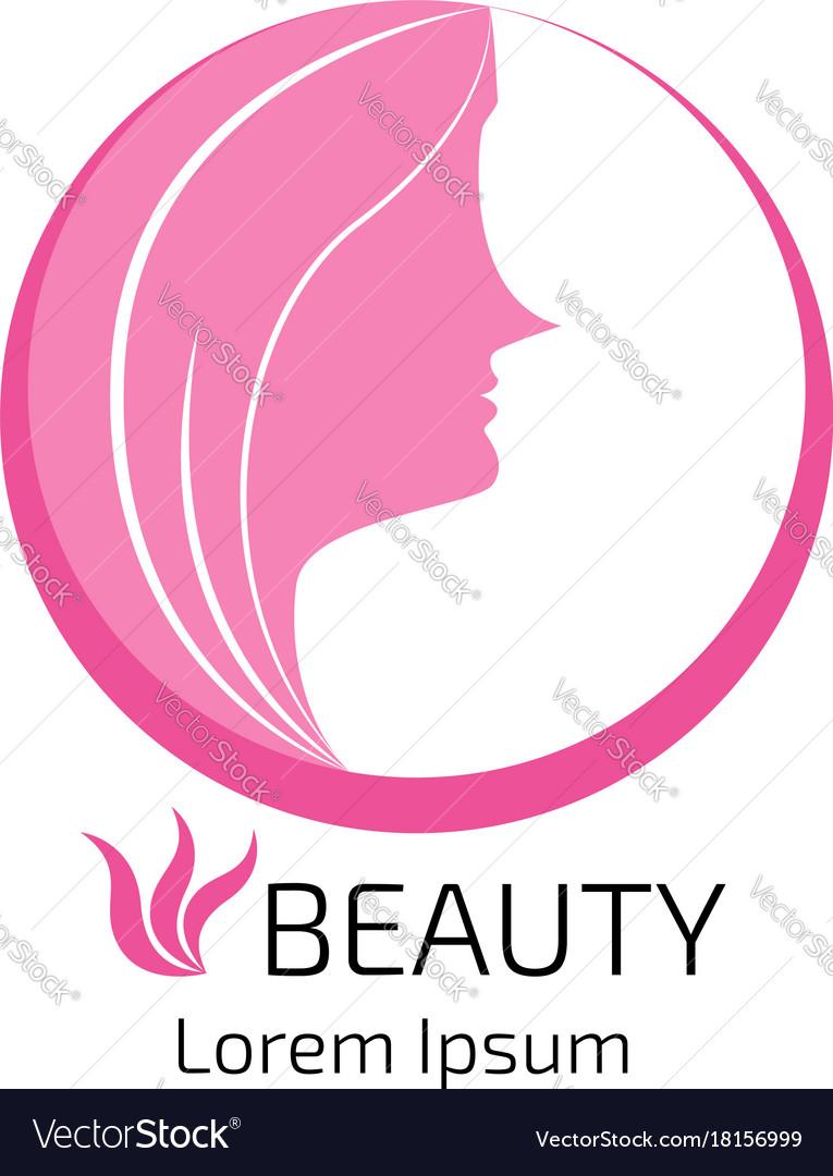 Abstract logo woman face design head hair for vector image