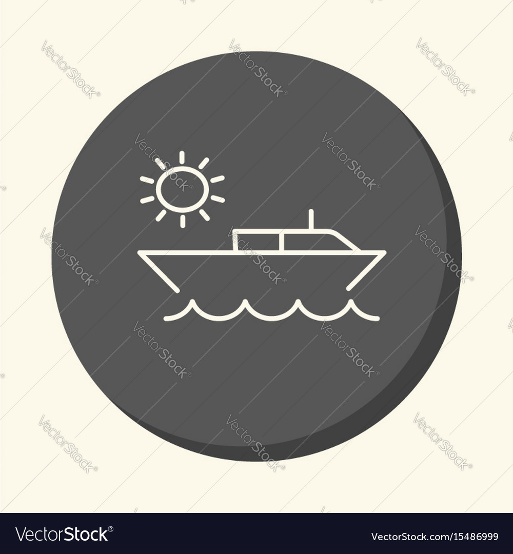 Boat in the ocean and the sun a round line icon