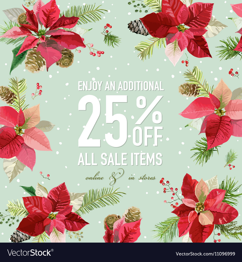 Christmas Sale Poster - with Winter Poinsettia vector image
