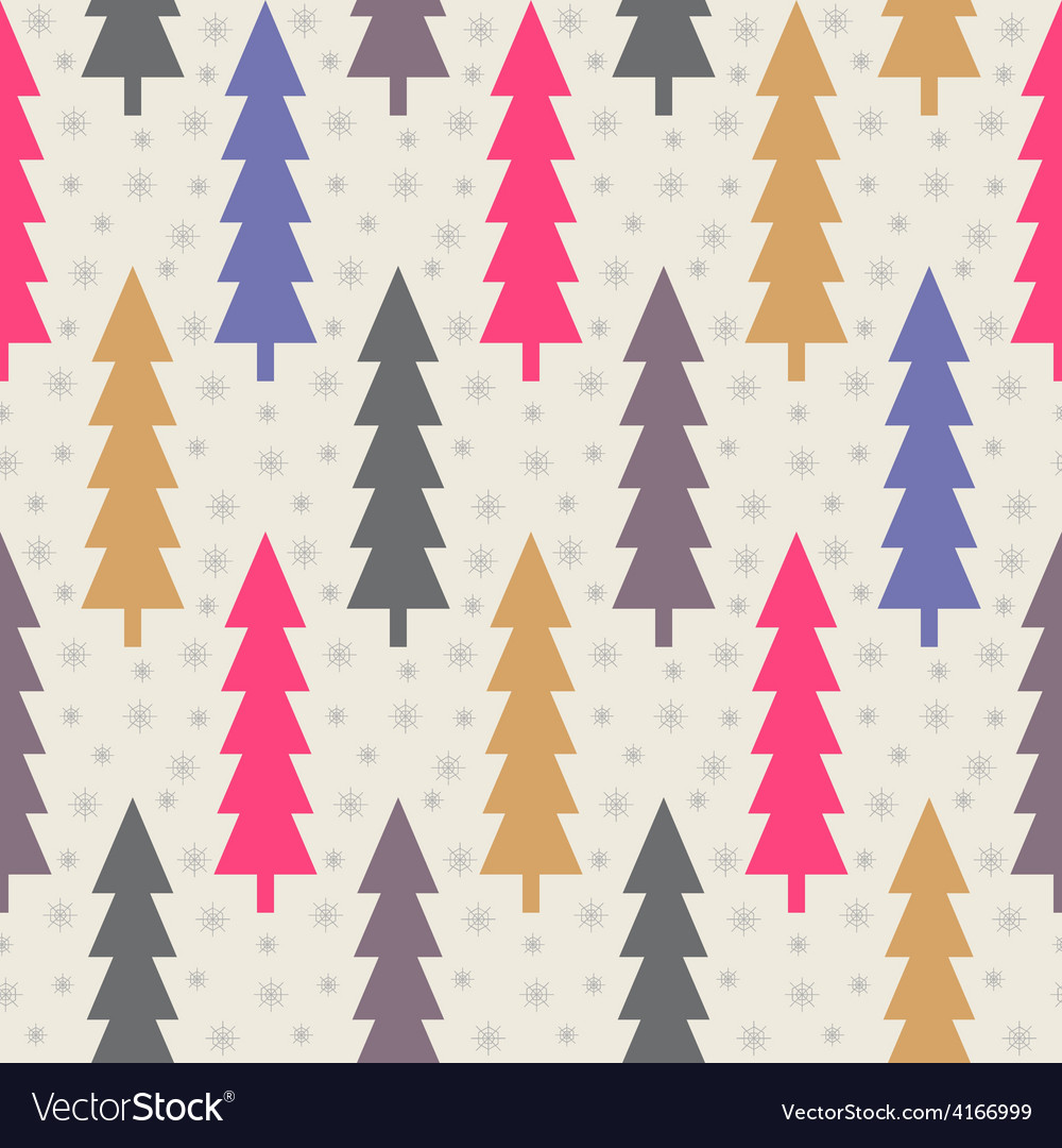 Christmas trees and snowflake seamless pattern