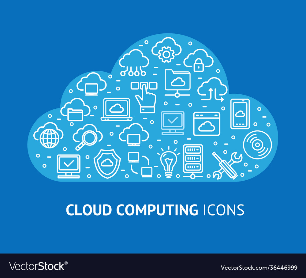 Cloud computing concept banner card