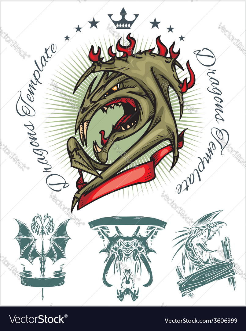 Dragon and ribbon - set Stock