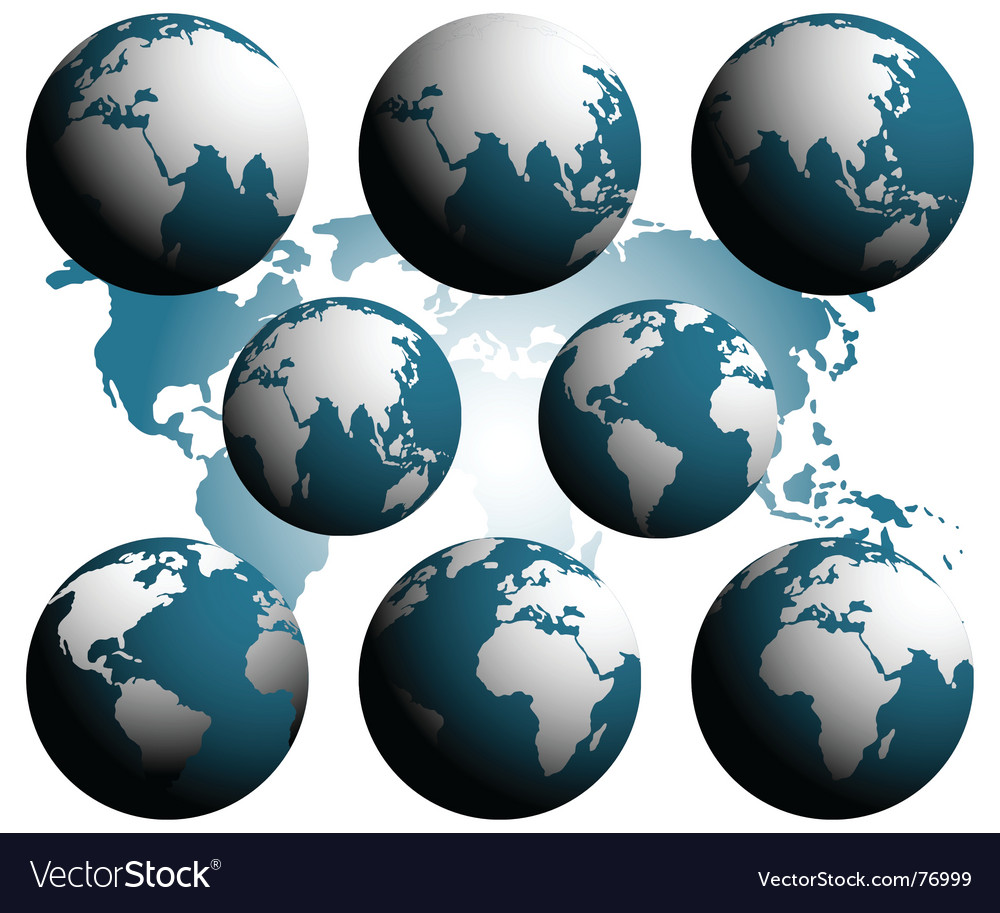 Earth over continents vector