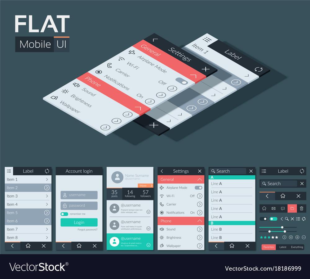 Flat user interface mobile design concept