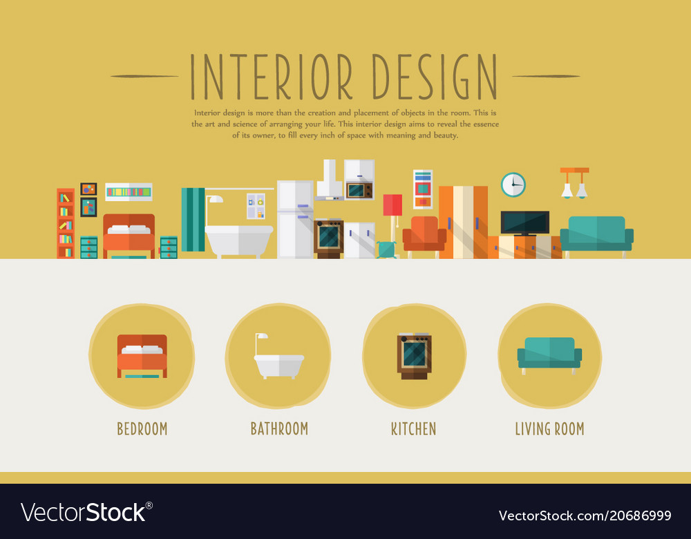 Interior design web banner template bedroom