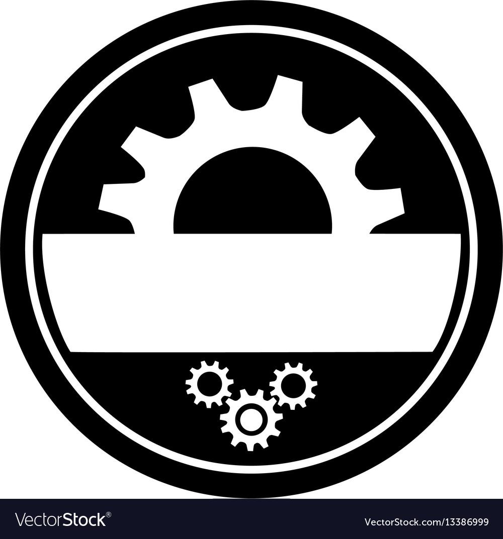 Monochrome circular frame with half pinion and vector image