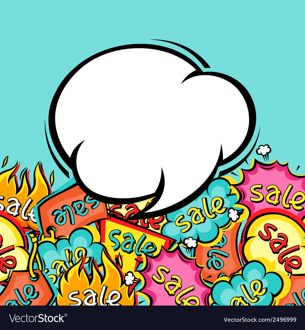 Sale comic speech bubble background in cartoon vector image
