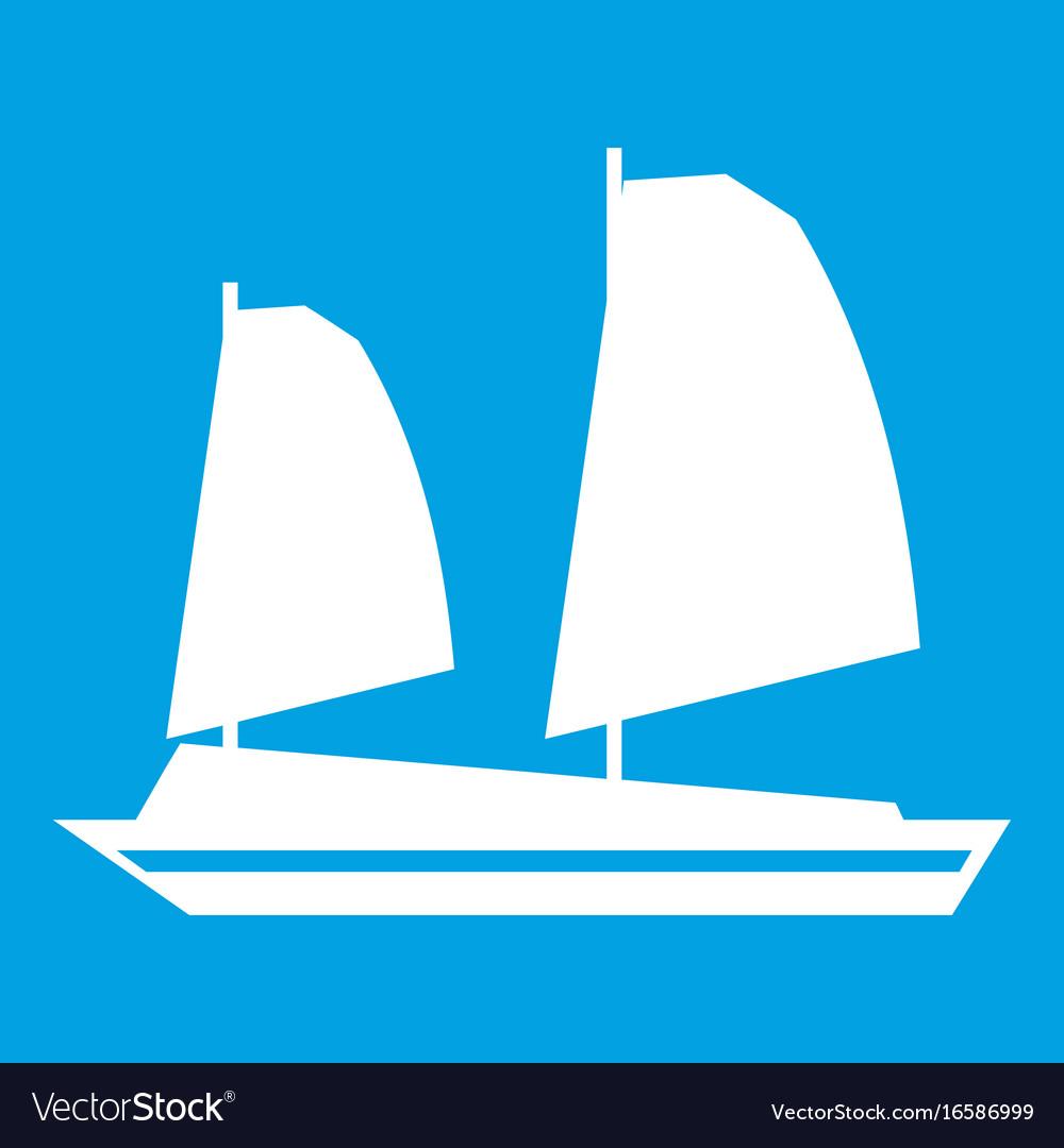 Vietnamese junk boat icon white