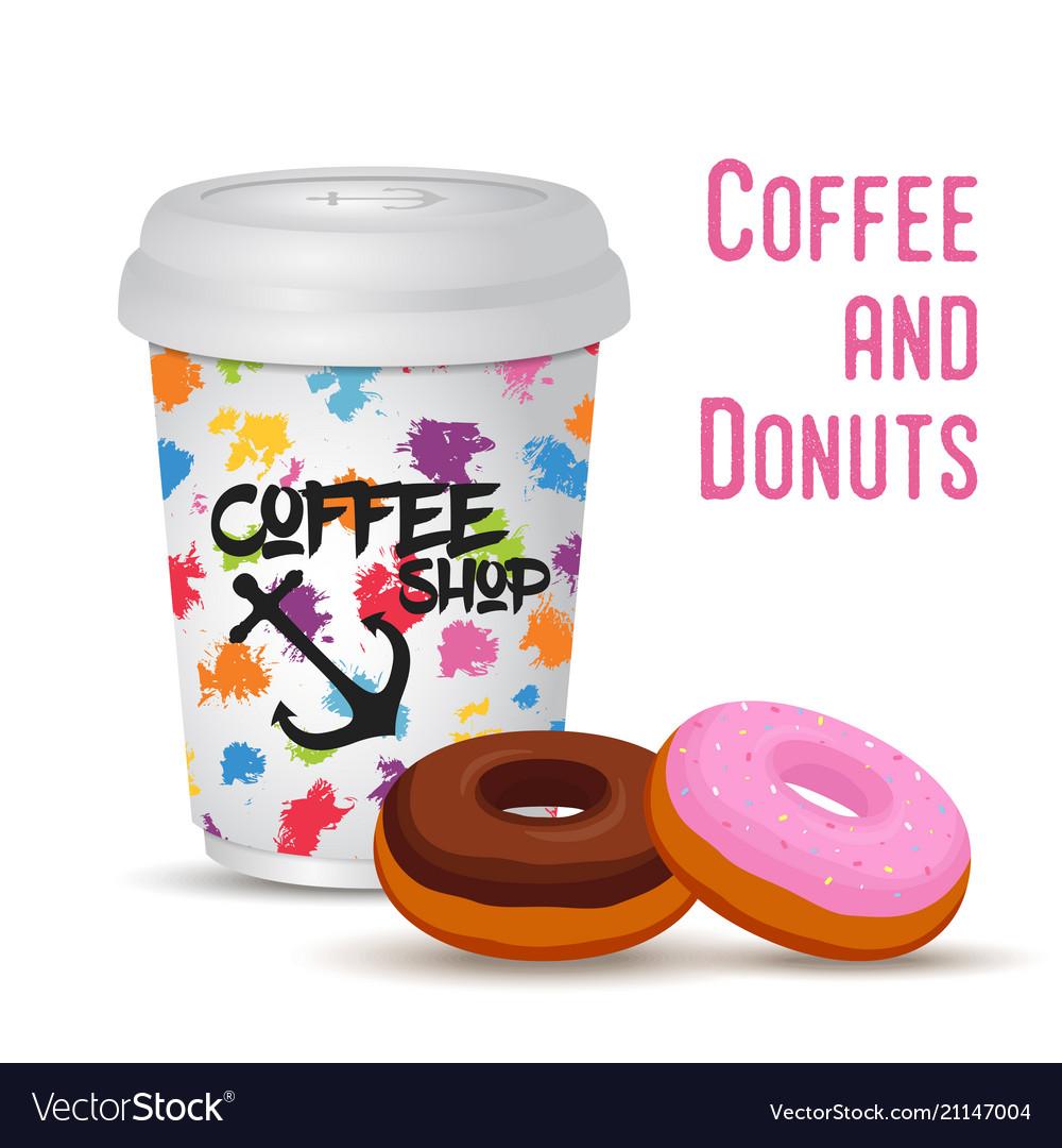 3d realistic coffee mug with donut