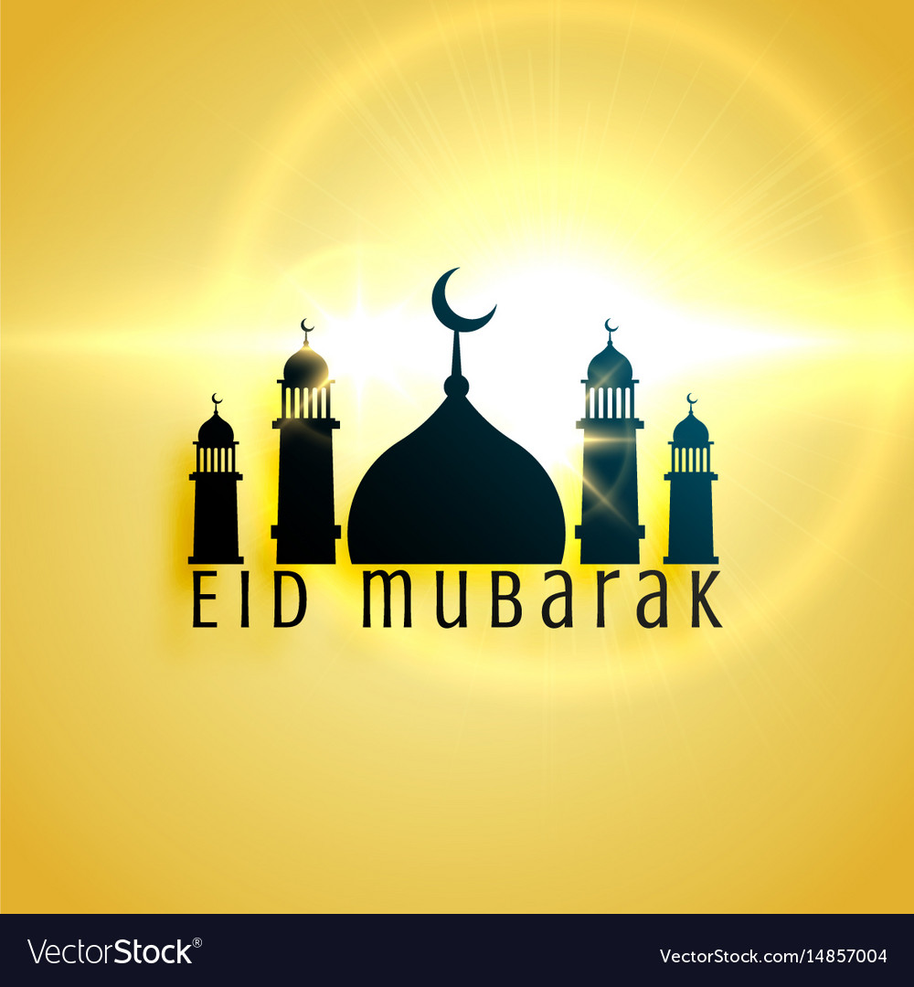 Beautiful mosque design for eid festival greeting