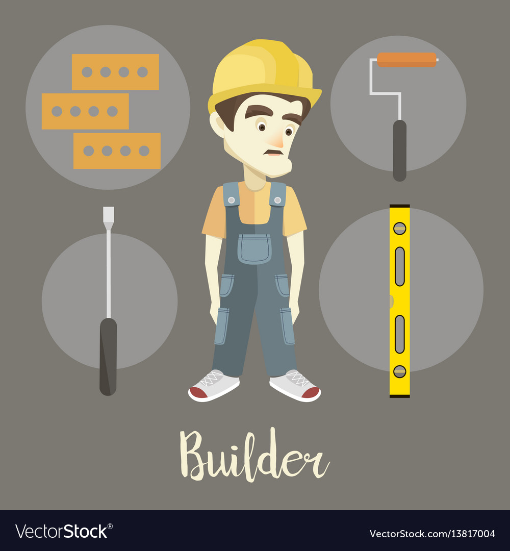 Builder on a dark background vector image