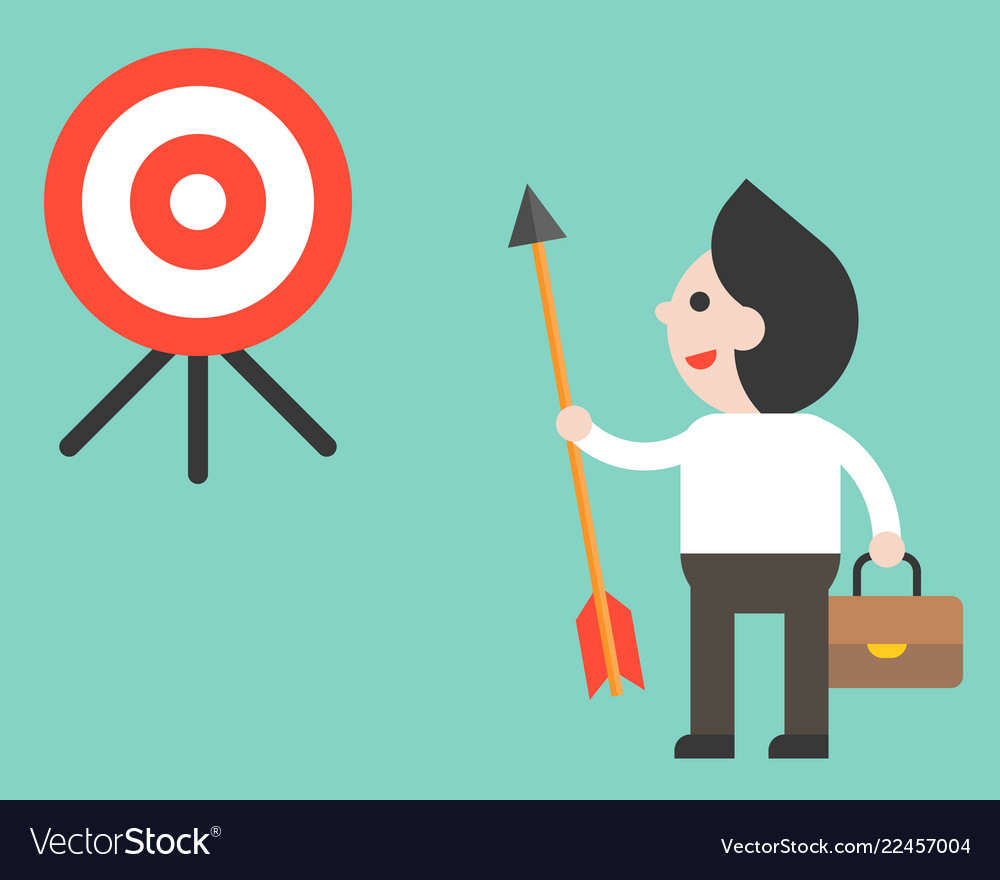 Businessman holding arrow and look at target