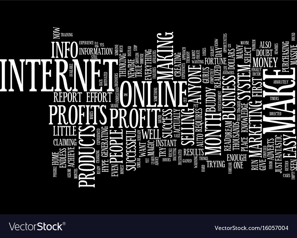 Dream of easy instant profits text background