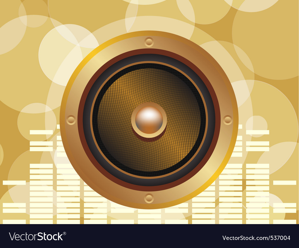 Gold speaker with equalizer background and glowing