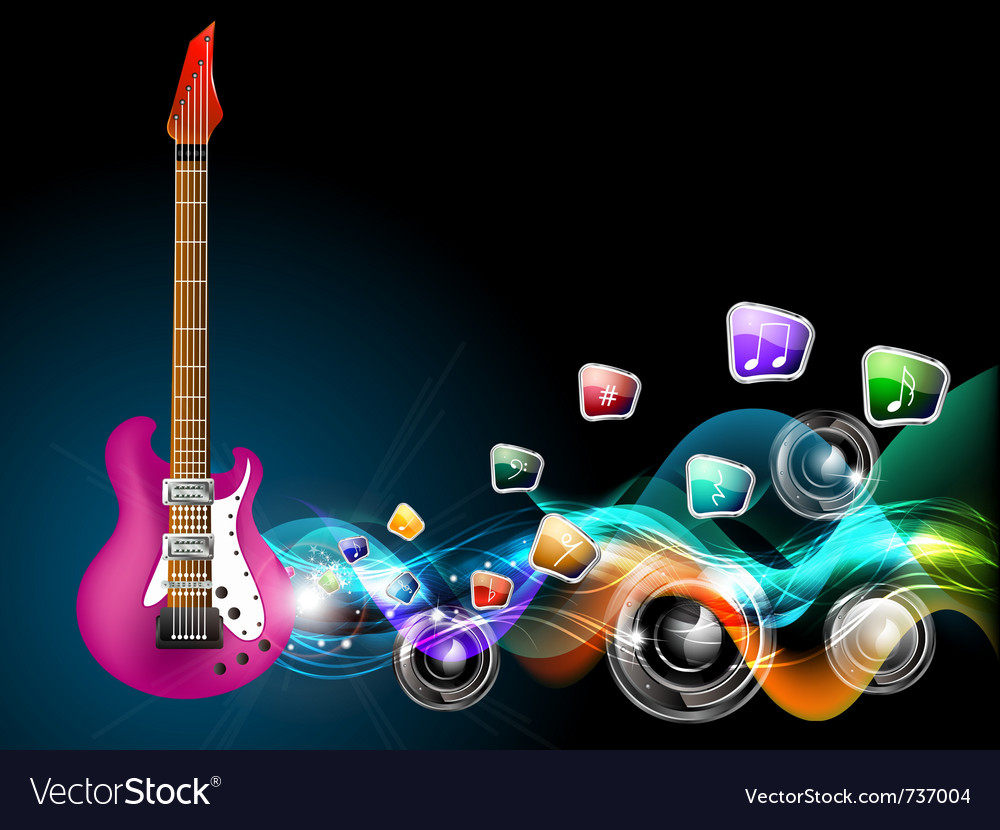 Guitar music vector image