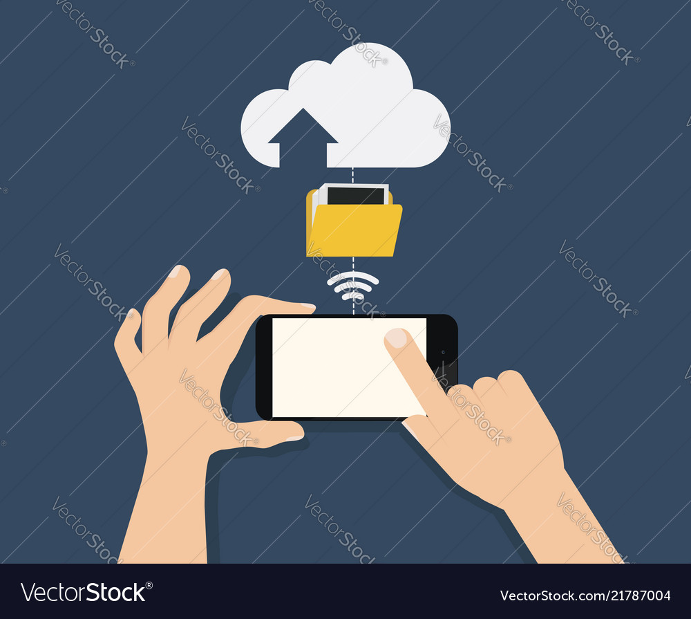 Hand hold smartphone and touch with connected