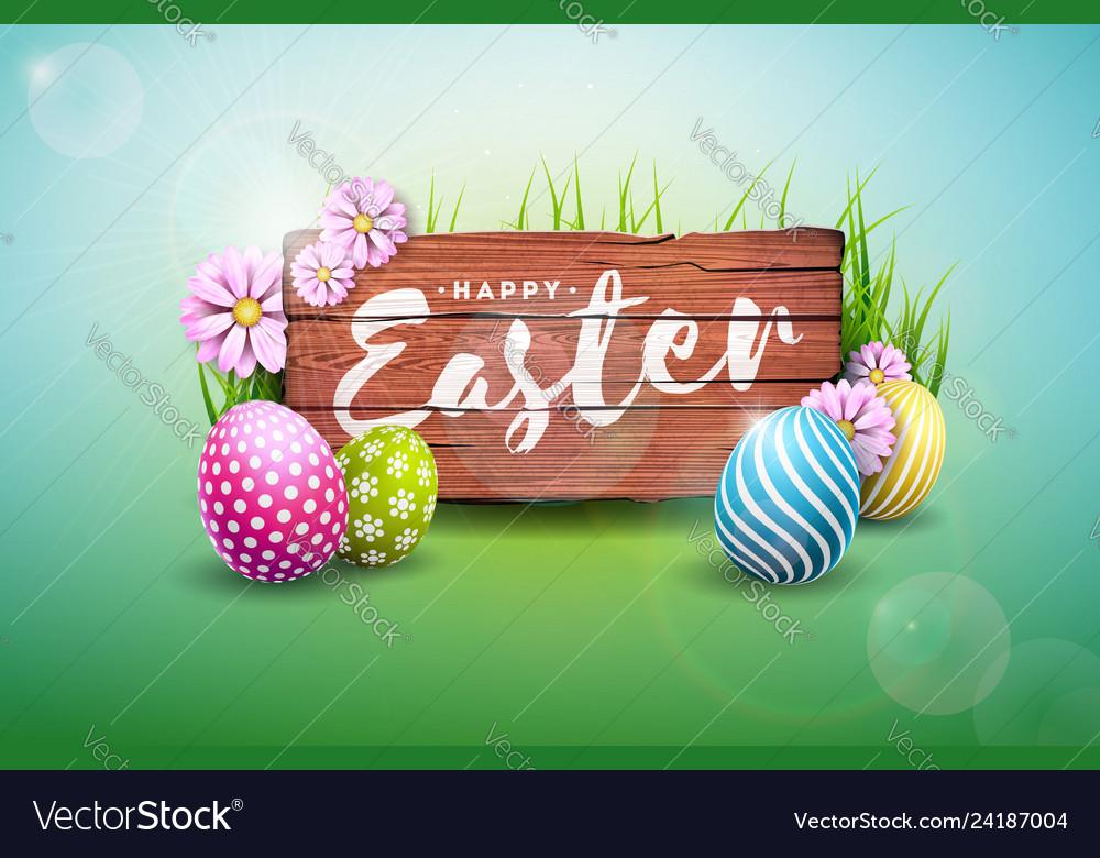 Symbol Holiday Card Flower SALE Vector illustration CL0030 Digital Clipart Painted Egg Happy Easter Eggs Spring Sign Design