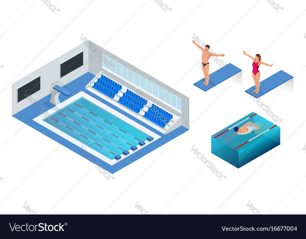 Isometric people diving into water in to the vector image
